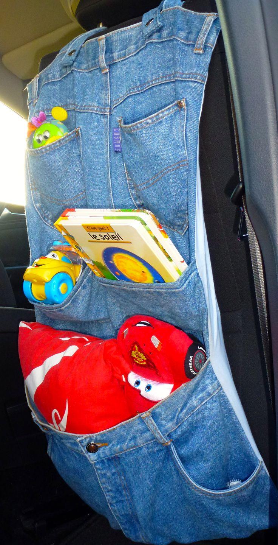 vide poche pour ranger les jouets dans la voiture r cup 39 de vieux jeans doubl d 39 un imprim. Black Bedroom Furniture Sets. Home Design Ideas