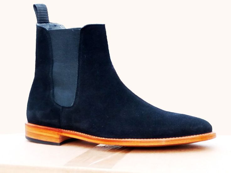 New Handmade Chelsea Suede Navy Blue Boots Formal Dress Boots #Handmade #Chelsea