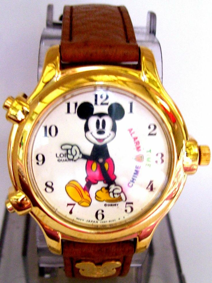 Mickey Mouse Watch Chime, Alarm, Action, Lorus Vintage Disney RARE