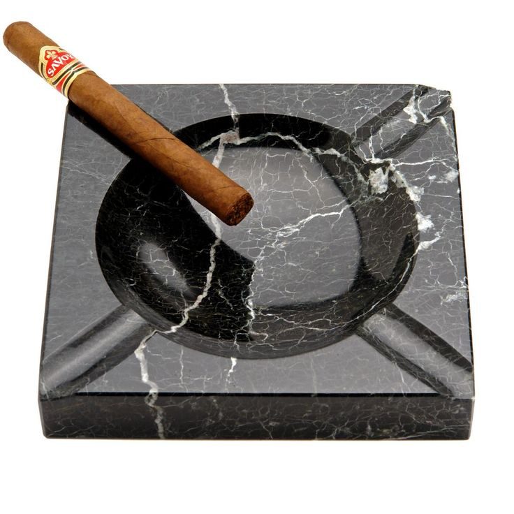 Black Marble Square Cigar Ashtray