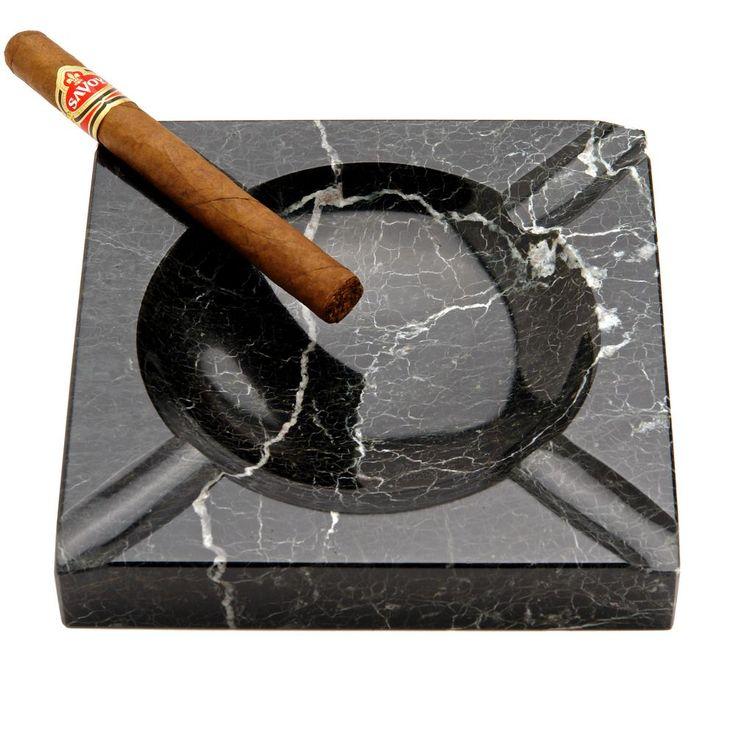 Black Marble Square Cigar Ashtray