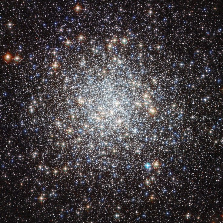 Messier 9 cluster: First discovered by Charles Messier in 1764, the globular cluster Messier 9 is a vast swarm of ancient stars located 25,000 light-years away, close to the center of the galaxy.   The cluster's innermost stars have never been individually resolved - until now.   Hubble has captured the details of over 250,000 stars within it.  Most of Messier 9′s stars are nearly ten billion years old — twice the Sun's age.