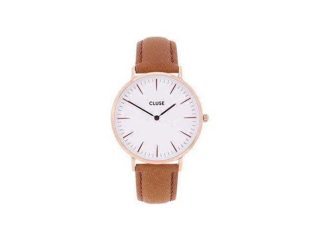 Bílé unisex hodinky s hnědým koženým páskem CLUSE La Bohème Rose Gold 2489 Kč