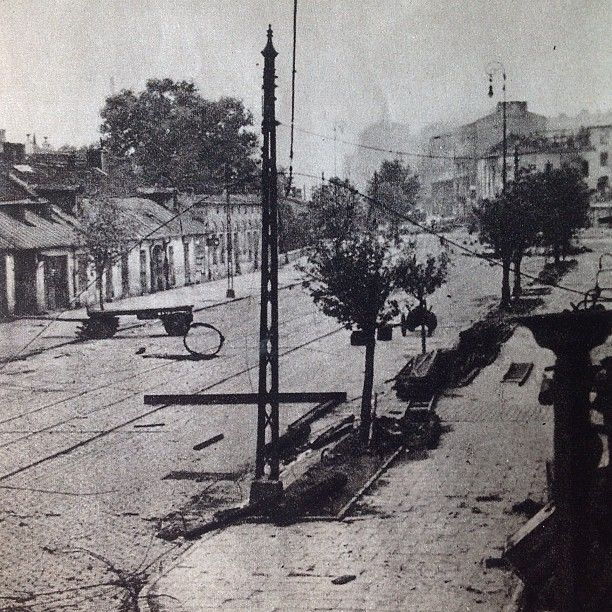 August 1st 1944, Warsaw, Wolska Street a few hours after start of The Uprising  From Dni Powstania