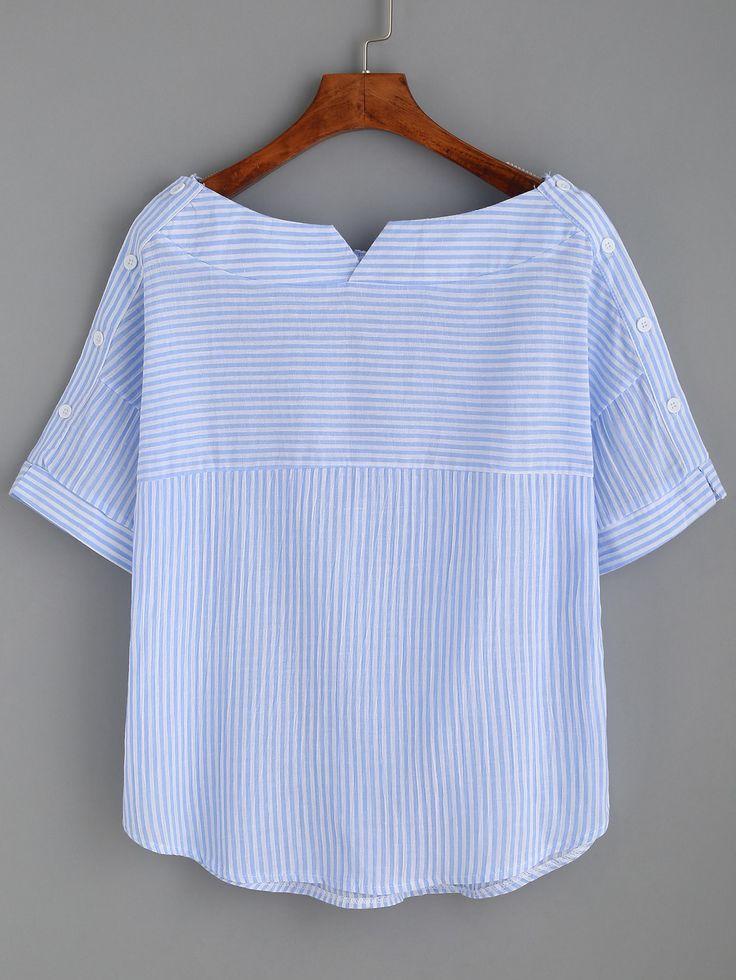 Blusa rayada del cuello del barco con los botones - SheIn (Sheinside)