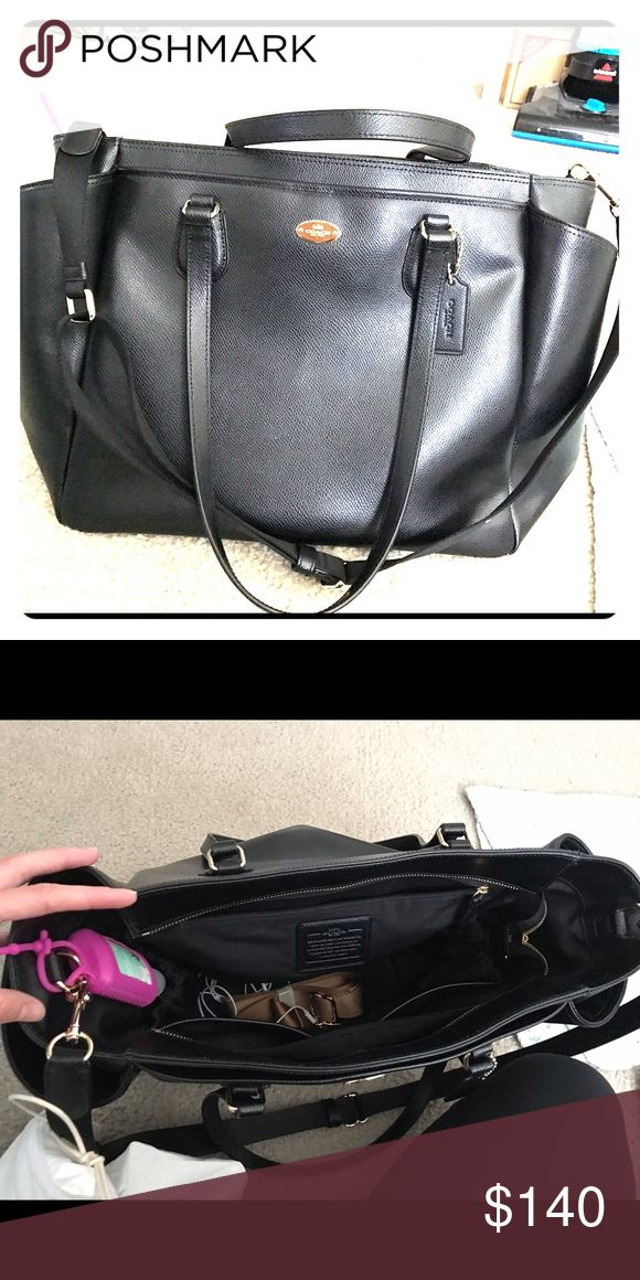 Authentic Coach Diaper Bag Brand New I purchased this beautiful black Coach diaper bag 2 months ago from the Coach store. I used it 2 times and then realized I wanted a backpack diaper bag so I started using that. I am selling this one because i am not using it. I know somebody else will love and enjoy it! There are no tears, scratches or imperfections on the bag inside or on the outside. The purse is black with gold zippers and hardware. Comes from a smoke and pet free home. Coach Bags Baby…