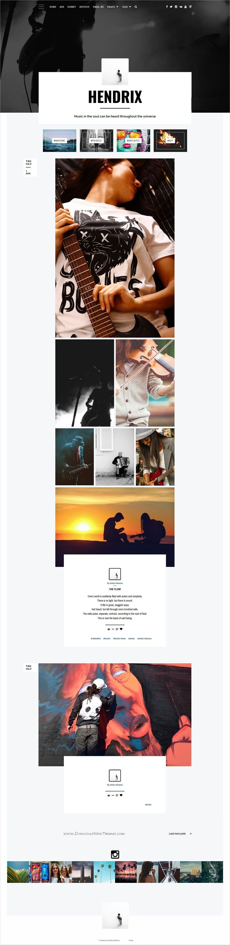 Hendrix is feature rich and aesthetically #beautiful single column #Tumblr theme for artists, creatives, personal and corporate content creators website download now..