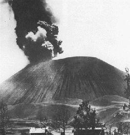 Photograph of Parícutin Volcano, Mexico, a typical cinder cone
