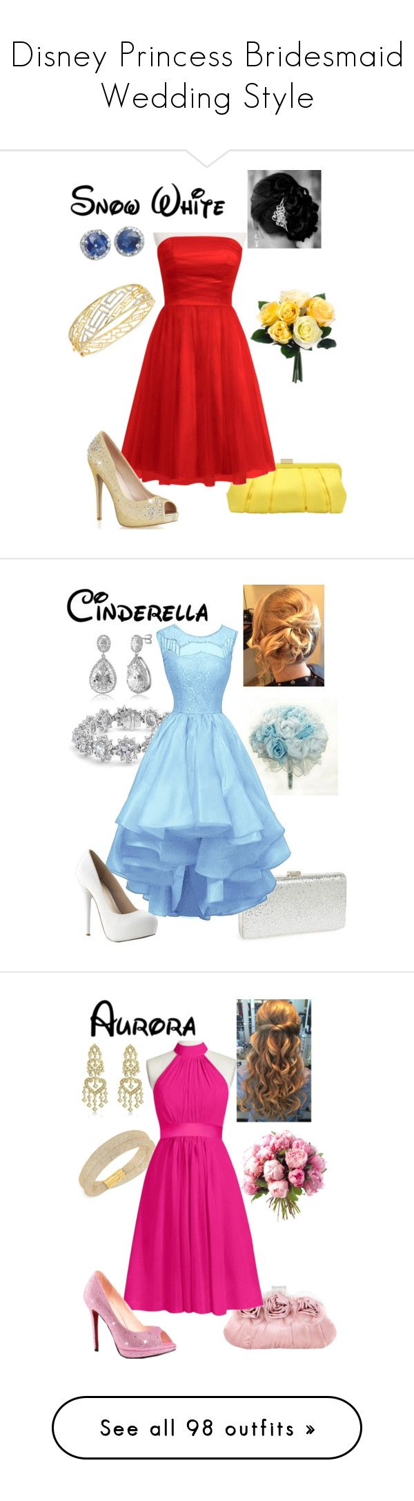 """Disney Princess Bridesmaid Wedding Style"" by briony-jae ❤ liked on Polyvore featuring Nina, Simone I. Smith, Effy Jewelry, Natasha, Bling Jewelry, BERRICLE, Jacki Design, Cadeau, Allurez and Swarovski"