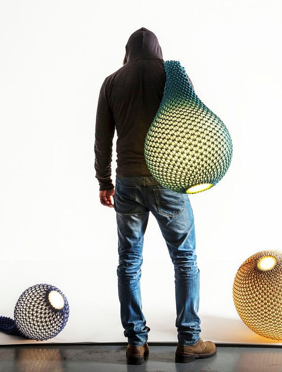 knitted modern lighting ,floor lamp , light balls , contemporary design , handmade lighting