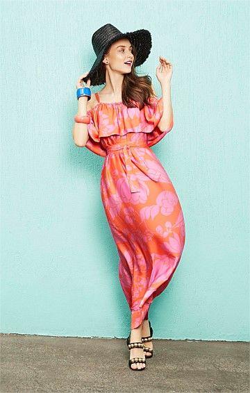 SHANGRI-LA OFF THE SHOULDER LONG MAXI FRILL DRESS IN TANG LILAC PRINT
