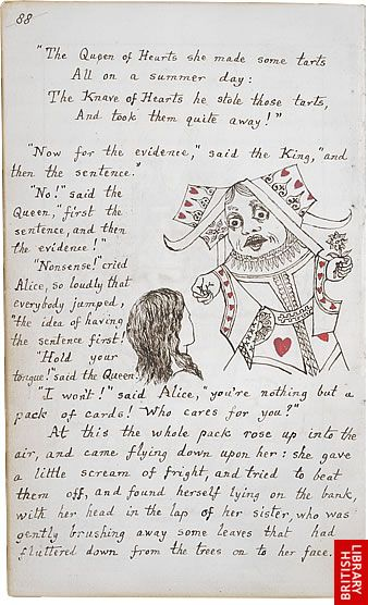 Alice's Adventures Under Ground (interior page). This is the gift manuscript that Carroll wrote and illustrated for Alice Liddell. These illustrations influenced John Tenniel's famous Wonderland illustrations.
