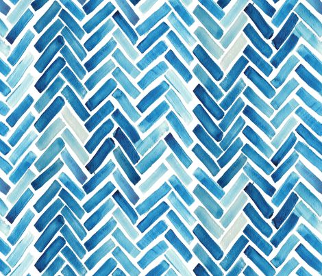 Blue herringbone watercolor fabric by mrshervi on Spoonflower - custom fabric