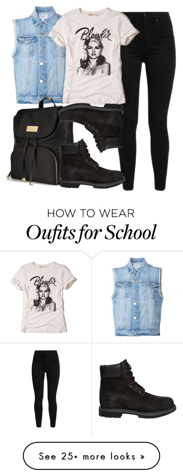 """School Sucks 2"" by witch-16 on Polyvore featuring Levi's, Frame, Victoria's Secret, Hollister Co. and Timberland"