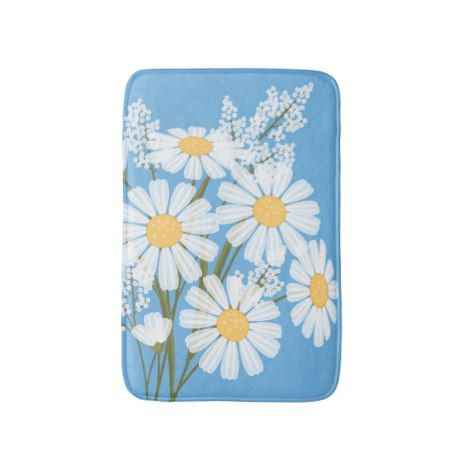 White Daisy Flowers Bouquet on Blue Bath Mat #kids #childrens #illustrator