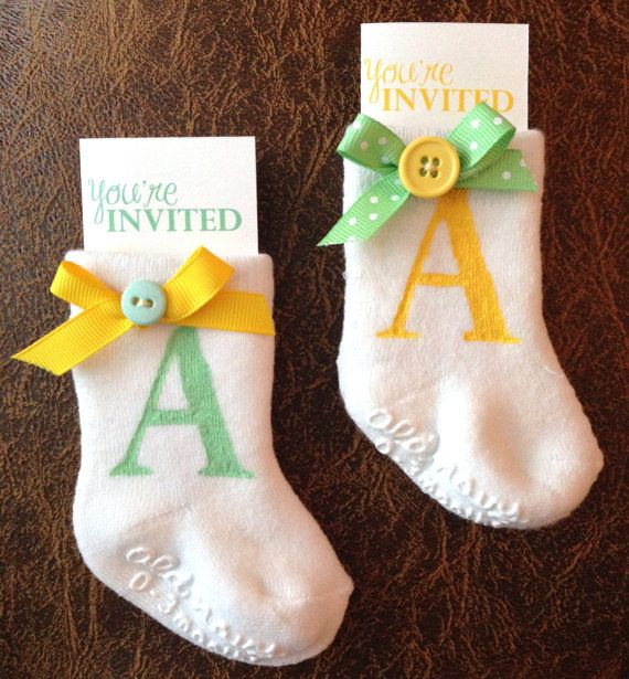 Cute As A Button Baby Shower DIY Invitation in a baby sock by RockMyInvites on Etsy, $5.00 adorable idea!