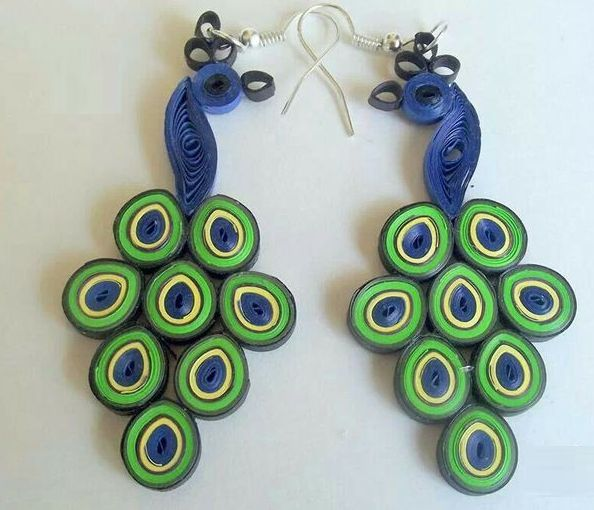 Peacock quilling paper earring designs for kids - quillingpaperdesigns