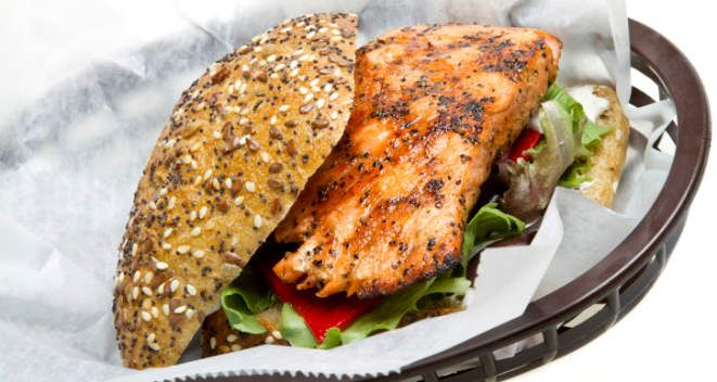 Blackened Salmon Sandwich (alter spices; use ready-made guacamole or ...