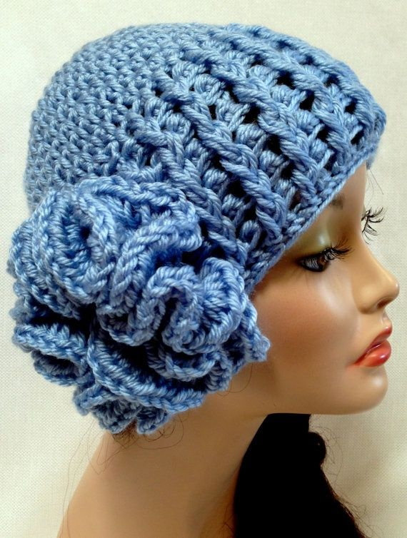 Knit Dark Purple Women's Hat with Purple Flower Jewel. $22.00, via Etsy.