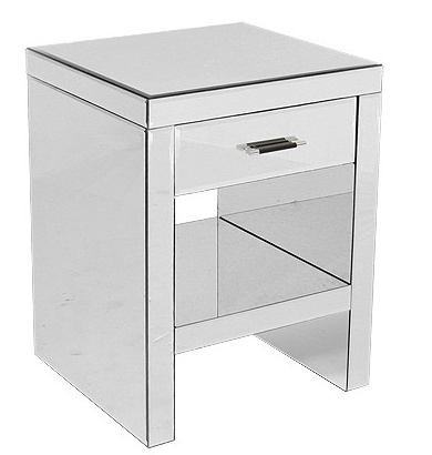Love the sleek lines of this mirrored bedside cabinet.