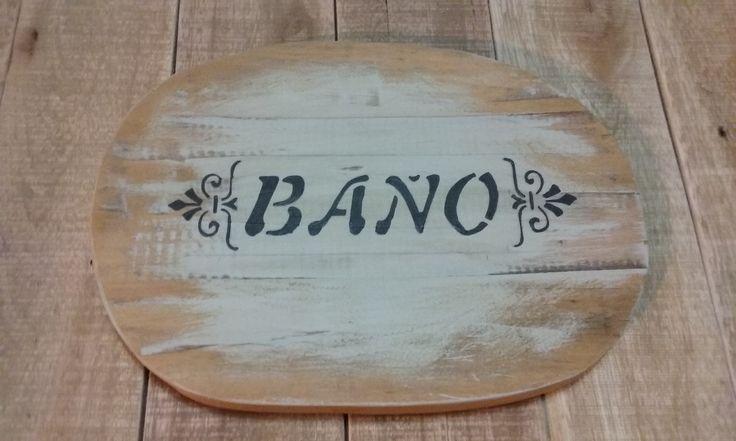 Cartel baño madera