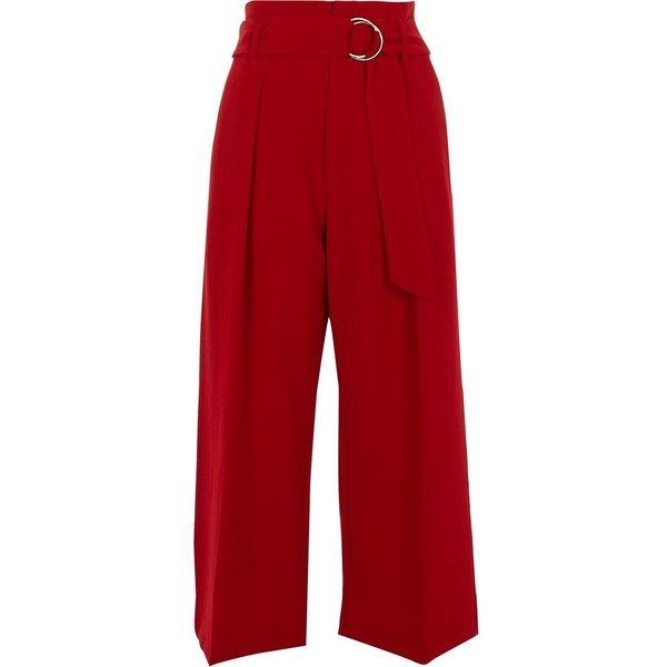 River Island Red ring tie belt high waisted culottes (1 175 ZAR) ❤ liked on Polyvore featuring pants, capris, trousers, cropped trousers, red, women, wide-leg pants, red crop pants, high waisted pants and wide leg trousers