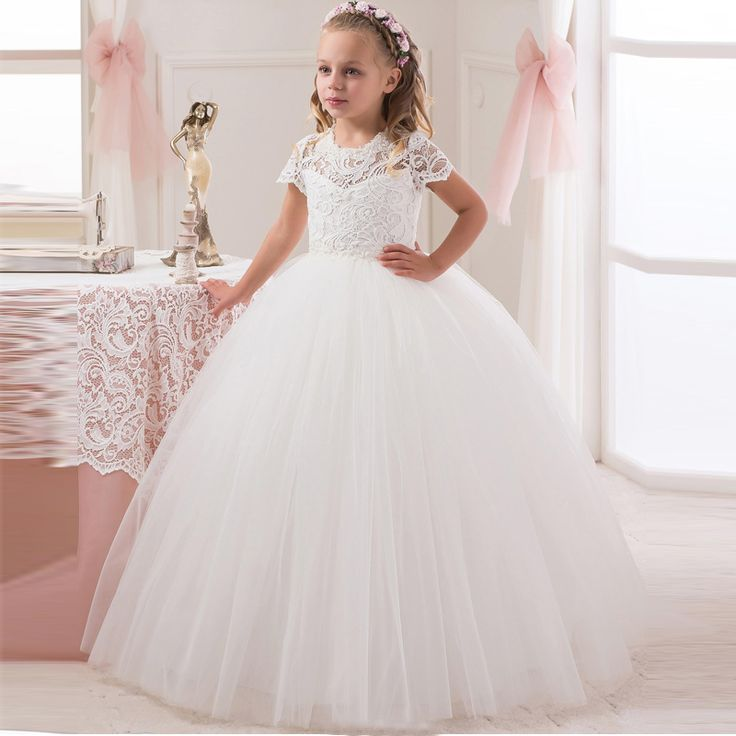 Cute Short Sleeve White Ivory Lace First Communion Dresses For Girls 2016 Ball Gown Kids Girls Pageant Gown Flower Girl Dresses