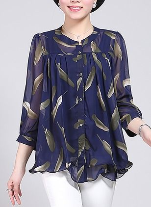 Geometric Casual Polyester Round Neckline Half Sleeve Blouses