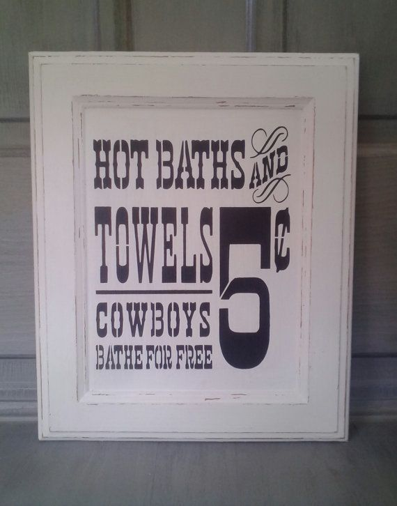 Shabby White Black Bathroom Sign Country by RustyBCreations, $25.00