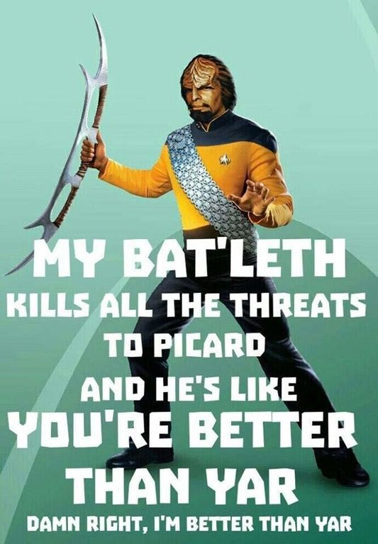 My Bat'leth Kills All The Threats To Picard : startrekmemes