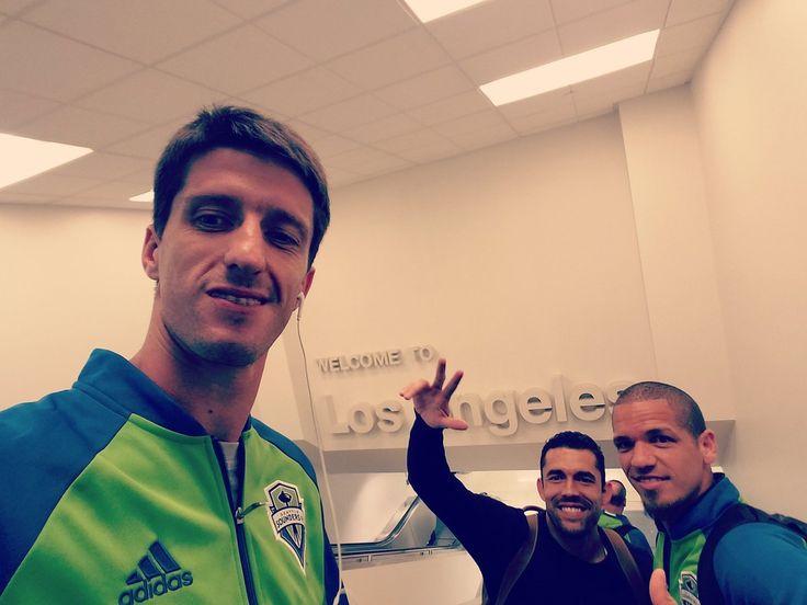 Alvaro Fernandez, Herculez Gomez and Osvaldo Alonso arriving in LA ahead of today's Seattle vs. LA Galaxy game