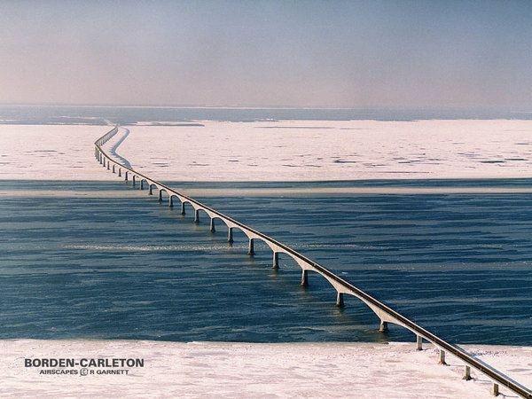 in winter.. Borden Carleton PEI Confederation Bridge