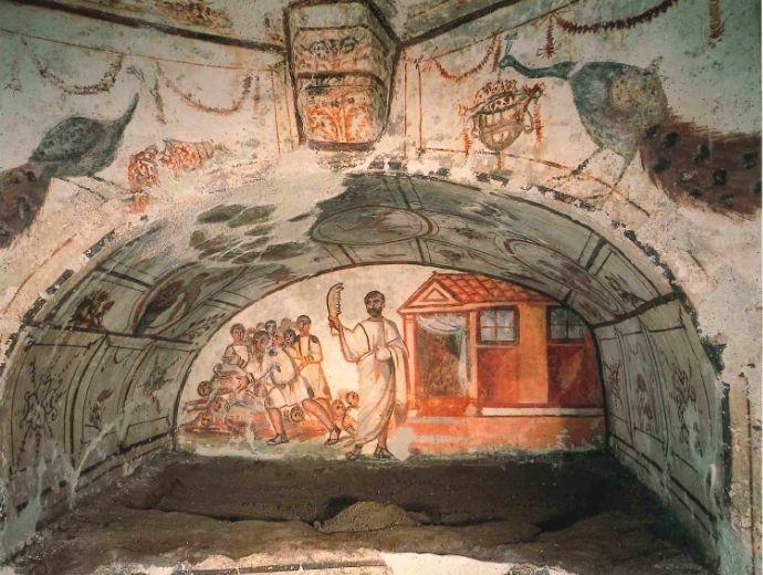 Catacombe di via Latina (Dino Compagni), Roma. Affreschi del IV secolo. Foto: Archivio PCAS