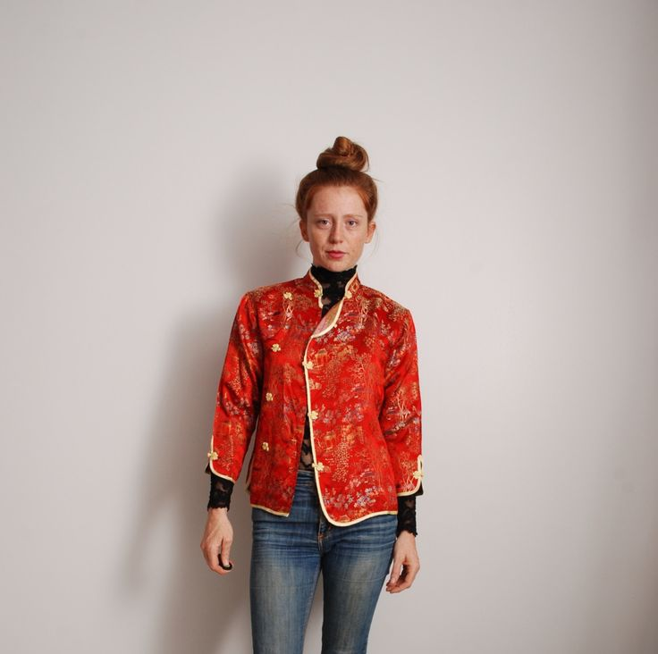 90s small red and gold asian light jacket rayon boat scene flower print womens ethnic clothing quarter length sleeves side frog button up by furhatguild on Etsy