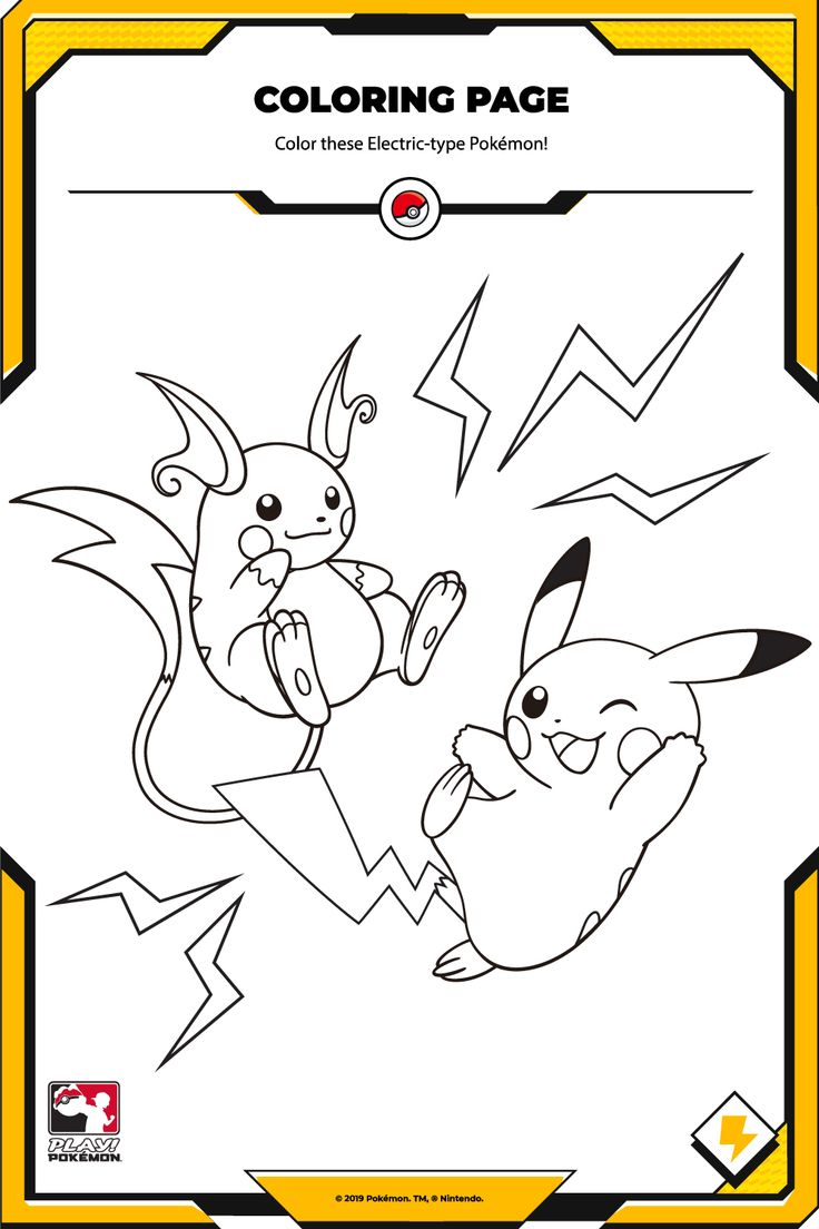 Pikachu and Raichu are ready for battle! Just add color! Type Pokemon, Play Pokemon, Pikachu, Home Activities, Coloring Pages, Snoopy, Cute, Fictional Characters, Battle