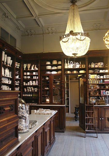 A beautiful 19th century pharmacy makes an apt showcase for Kühn Keramik's unique ceramic designs.