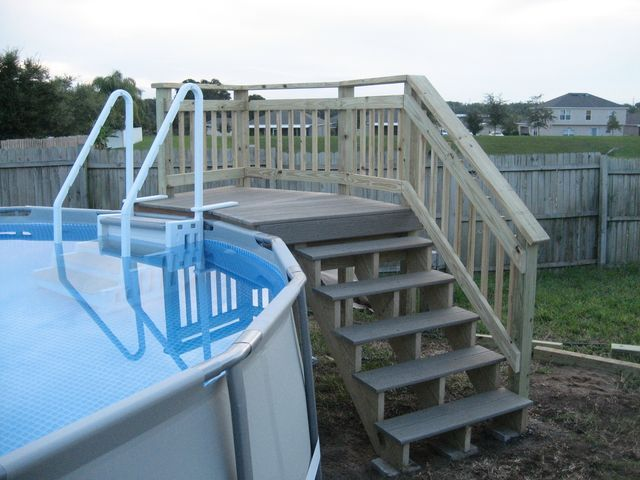 For the decking surface, I used that synthetic decking material at home depot. It's expensive but it will last forever and completely waterproof. Total cost in materials was about $350. The stairs. They were around $200.