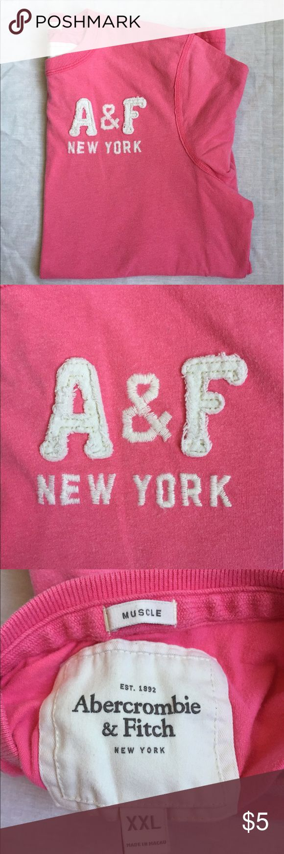 Abercrombie & Fitch Pink Shirt Abercrombie & Fitch Pink T shirt. Size XXL but seems more like a large/XL Abercrombie & Fitch Shirts Tees - Short Sleeve