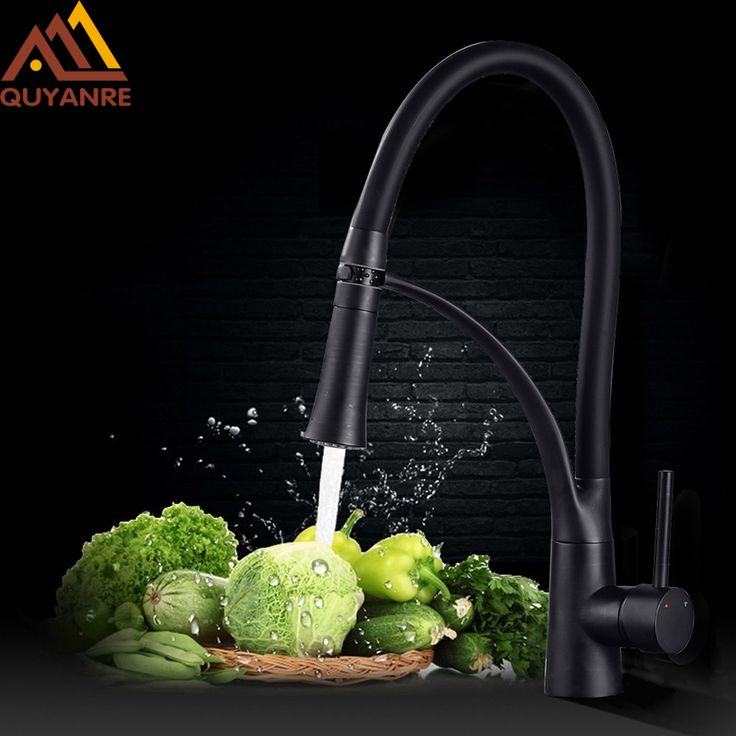 Cheap kitchen faucet, Buy Quality faucet black directly from China mixer tap Suppliers: Quyanre Black LED ORB Kitchen Faucet Pull-out Sprayer 360 Rotation Single Handle Mixer Tap Sink Faucet Black Rubber Faucets