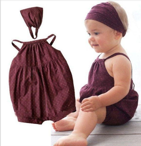 Kids newborn Baby Girls Maroon 2 piece romper + matching headband by Crystalsandbubz on Etsy