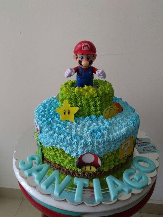 Torta de Marrio Bros decorada en crema, especial para el cumpleaños de los más pequeños-  #VainillaMaravilla #Bucaramanga #MarioBros #MarioCake #MarioCrema #LibrayMedia