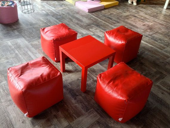 Bean bag red Bean bag chairs Cube  genuine by HomeAtmosphere