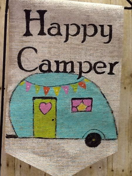 Handmade item Materials: outdoor paint, Burlap, Cotton thread This is a hand painted retro camper with a little bunting flag. I use outdoor paint so will not fa