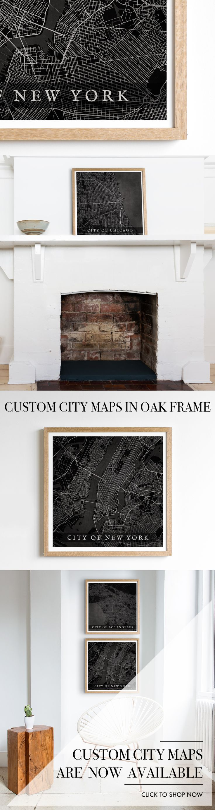 Chicago Map Grid%0A City Map Art  Custom Made in a Solid Oak Frame