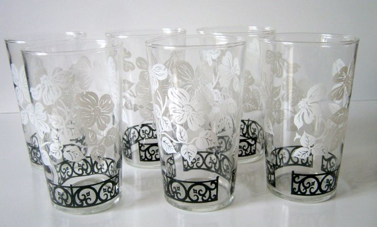Set of 6 Federal Glass Company Black and White Drinking Glasses by InspireInMotion on Etsy