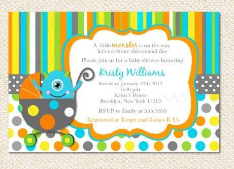 Monster Baby Shower Invitations by LollipopPrints on Etsy, $10.00