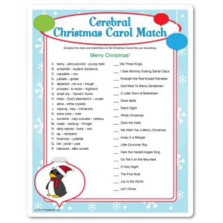Christmas Carol Brain Teasers! See if you can match the not-so-obvious clues to the traditional Christmas carol. Christmas game for adults.