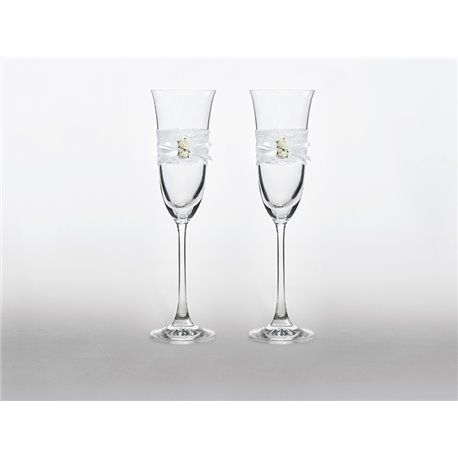 2 stk. Champagneglass med blonder og blomster