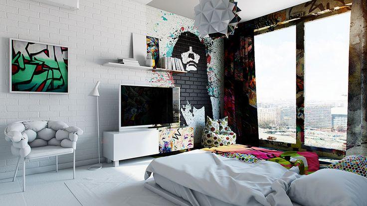 Half White, Half Graffiti: Designer Splits Hotel Room Into Two Worlds | Bored Panda