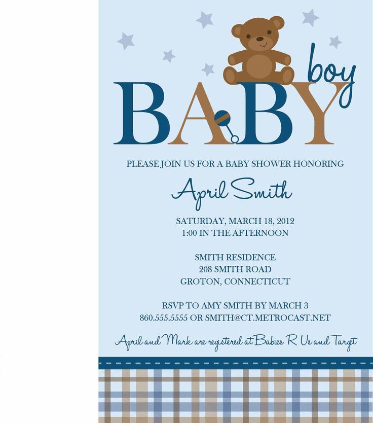 Baby Shower Invitations For Boys Template